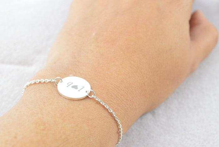 Personalized Silver Bracelet, Disc Bracelet, Dainty Silver Jewelry, Custom Bracelet, Name Bracelet, Monogram Bracelet, Gift Ideas for Her