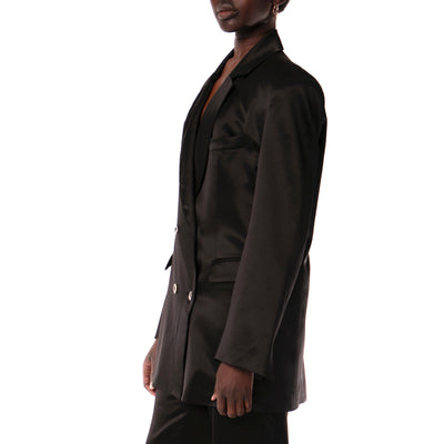 BLACK SILK SUIT JACKET