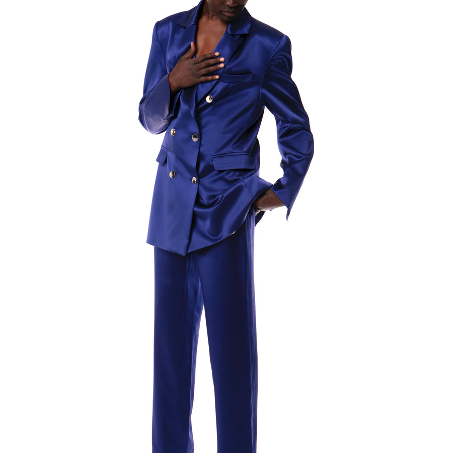 COBALT SILK SUIT JACKET
