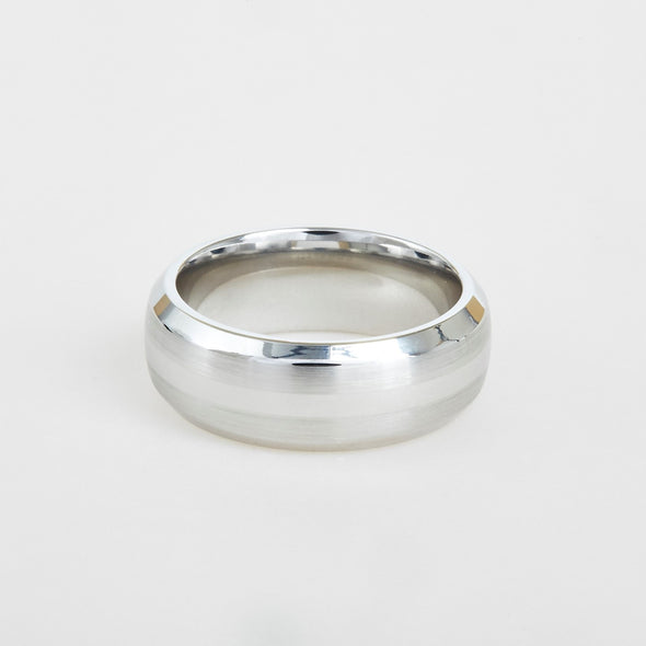 mens white cobalt wedding band with double satin center 8mm