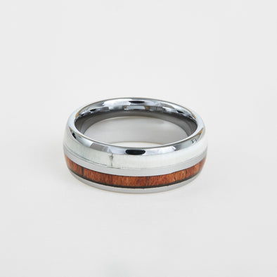 mens white tungsten wedding band with antler and koa wood inlay 8mm