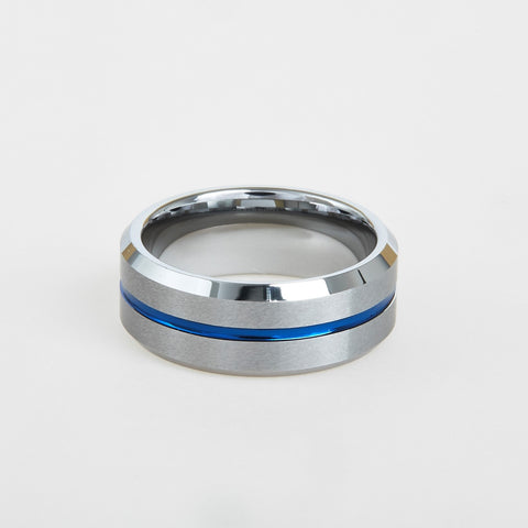 mens tungsten blue center line 8mm