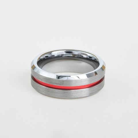 mens tungsten red center line 8mm