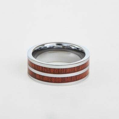 mens tungsten flat double koa wood inlay 8mm
