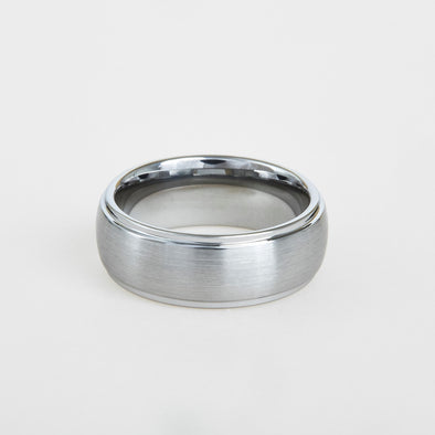 mens white tungsten wedding band with dome profile, step down edges 8mm
