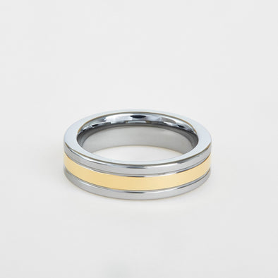 mens two tone white and yellow gold wedding band with flat profile 6mm