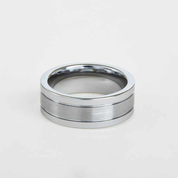 mens white tungsten wedding band with flat profile, double groove 8mm