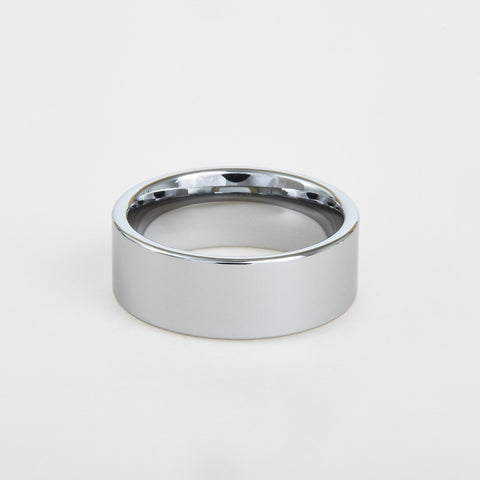 mens white tungsten wedding band with flat profile 8mm