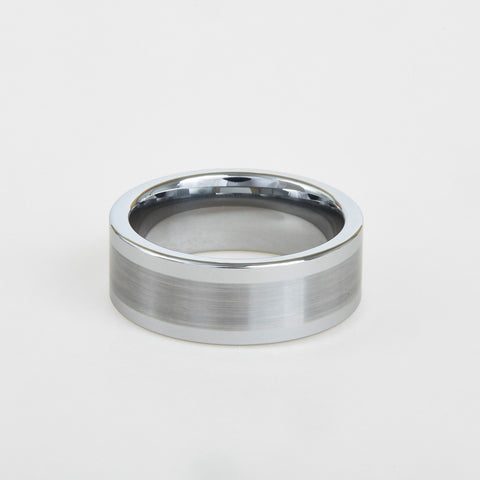 mens white tungsten wedding band with flat profile, satin center 8mm