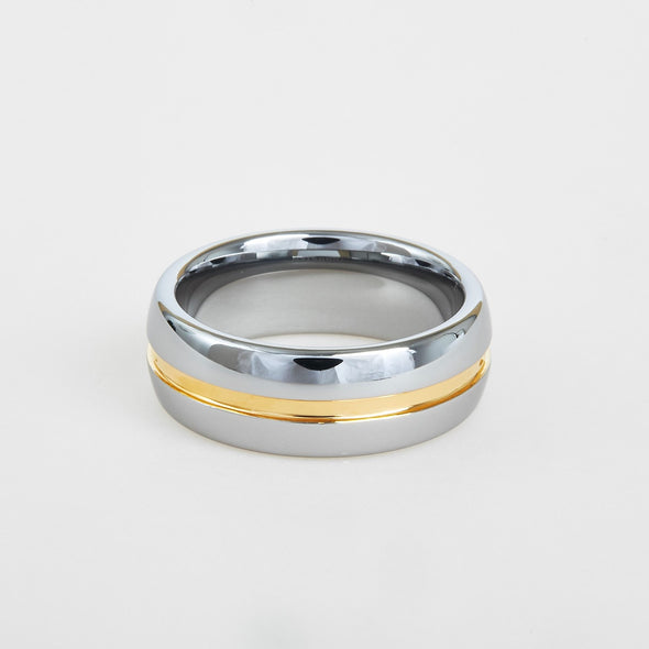 mens white tungsten wedding band with gold center line 8mm