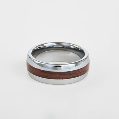 mens white tungsten wedding band with dome profile and koa wood inlay 8mm
