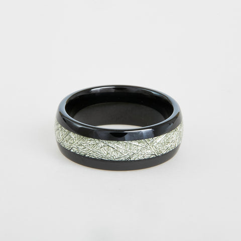 mens black tungsten wedding band with meteorite inlay 8mm