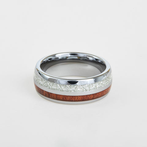 mens wood and meteorite inlay wedding band 8mm