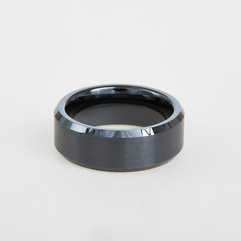 mens black ceramic wedding band with beveled edges 8mm