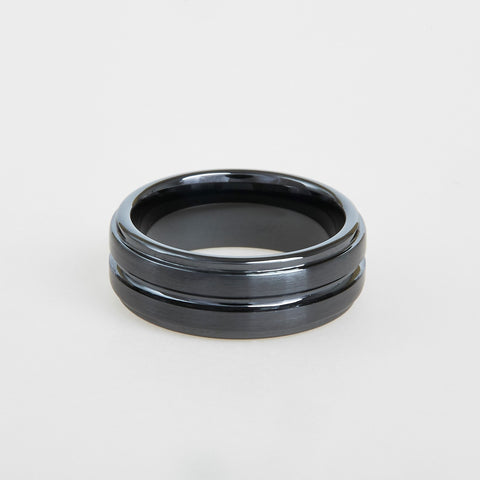 mens black ceramic wedding band with grooved center and step down edges 8mm