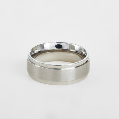 mens titanium flat edge wedding band 8mm
