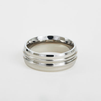 mens titanium wedding band with milgrain detail 8mm