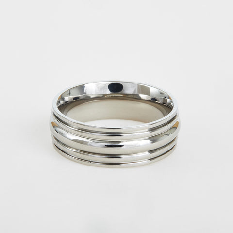 mens titanium wedding band with multiple grooves 8mm