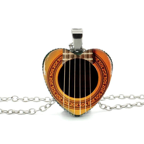 Glass Faced Guitar Pendant Necklace