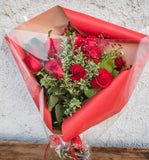 Rose Hand Tied Bouquet Wrapped in Cellophane