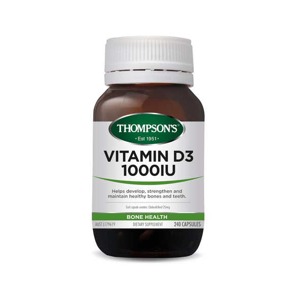 Thompsons Vitamin D3 1000iu Capsules in Rice Bran Oil 240's