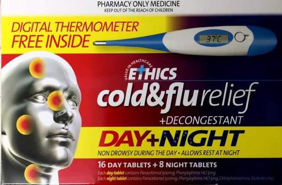 Ethics Cold and Flu Plus Decongestant Day&Night 24's+ Digital Thermometer - DominionRoadPharmacy