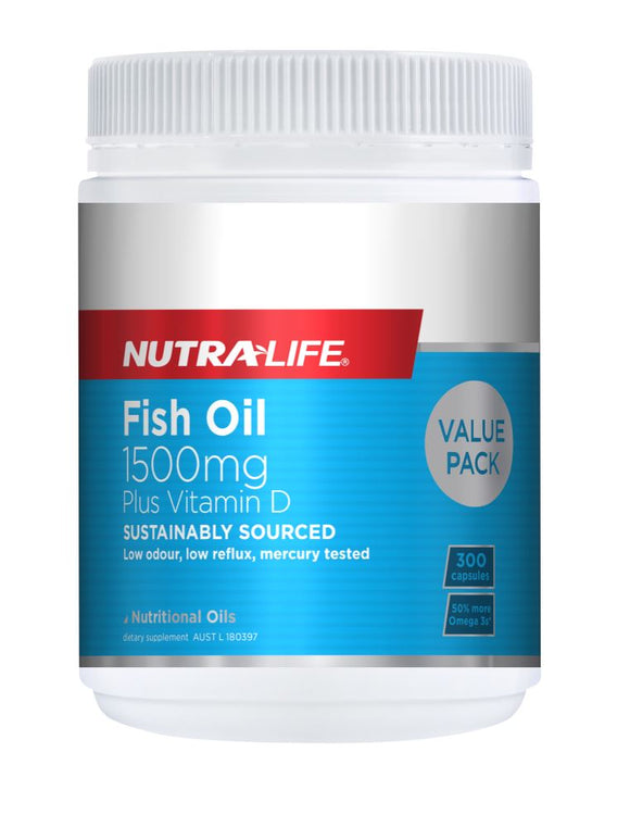 Nutralife Omega 3 Fish Oil 1500mg with Vit D Caps 300's
