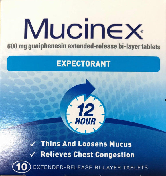 Mucinex Expectorant 12 hour relief 10 tablets