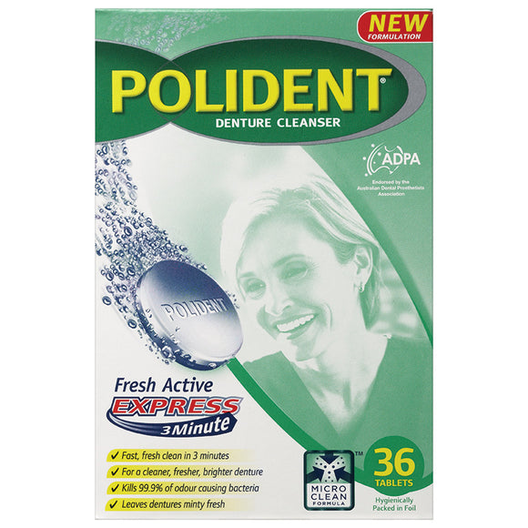 Polident Express 3 Minute Denture Cleaning Tabs 36