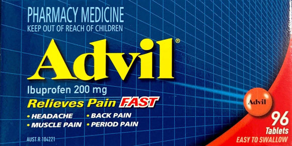 Advil Ibuprofen 200mg 96 Tablets For Pain Relief - DominionRoadPharmacy