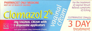 Clomazol 2% Vaginal Cream For Treatment Of Vaginal Thrush 20g - Pharmacist Only Medicine