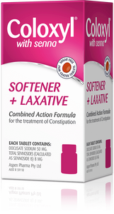 Coloxyl with Senna For Constipation - Stool Softener + Stimulant Laxative 90 Tablets - DominionRoadPharmacy