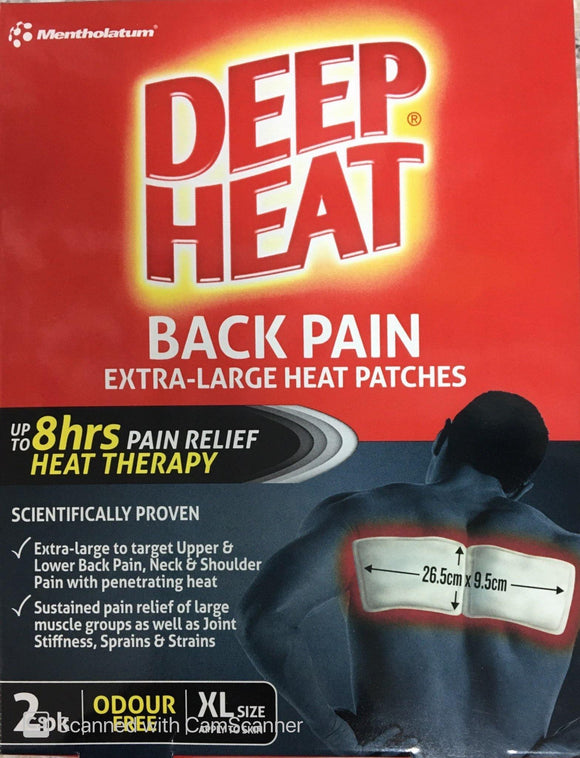 Deep Heat Back Patches Odourless 2's