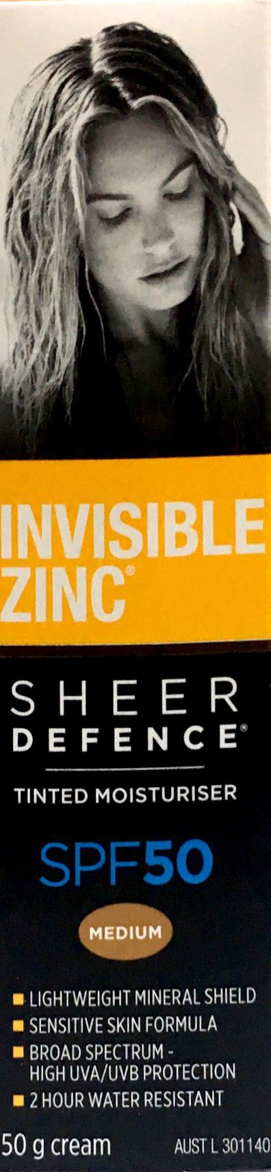 Invisible Zinc Sheer Defence SPF50 Tinted Moisturiser 50gm-Medium - DominionRoadPharmacy