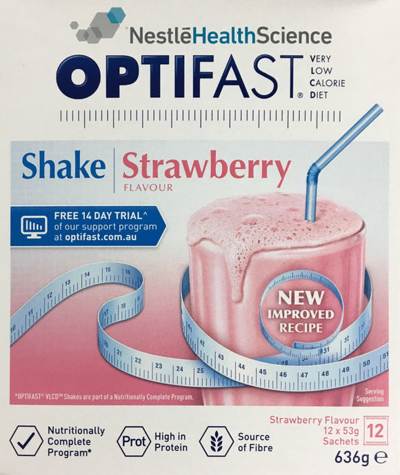 Optifast VLCD Milkshake Strawberry 12 x 53 gm Sachets