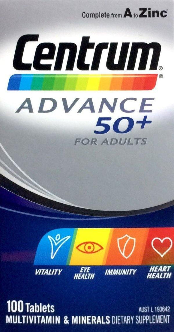 Centrum Advance 50+ 100 Tablets - DominionRoadPharmacy