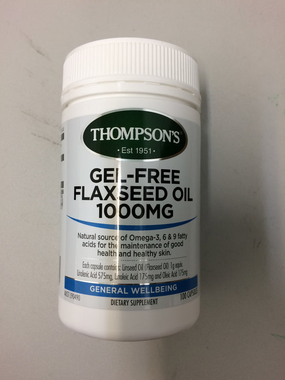 Thompsons Gel-free Flaxseed Oil 1000mg Capsules 100's