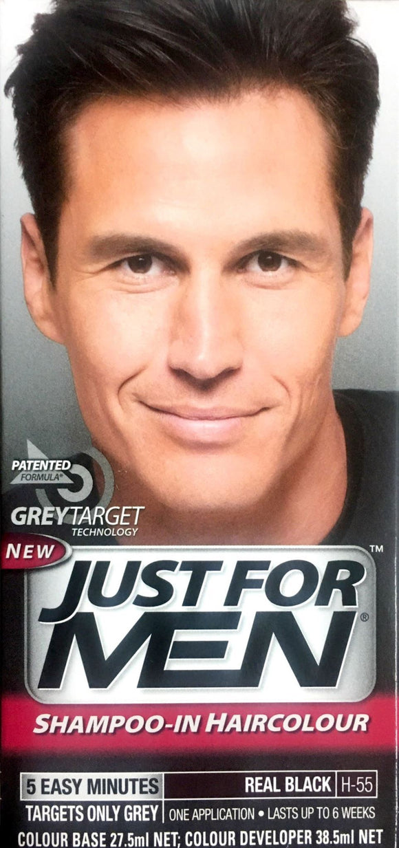 Just For Men Shampoo-In Hair Colour Real Black - DominionRoadPharmacy