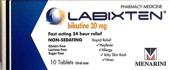 Labixten For Hayfever, Allergy, Itchy Skin - 20mg 10 Tablets  Pharmacy Medicine - DominionRoadPharmacy