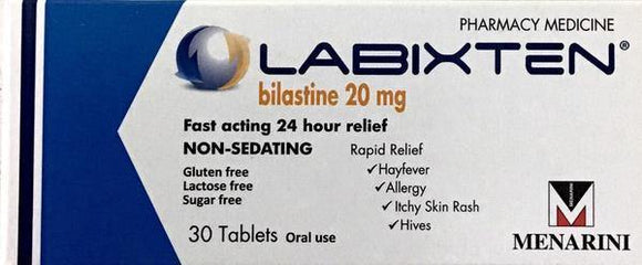 Labixten For Hayfever, Allergy, Itchy Skin - 20mg 30 Tablets  Pharmacy Medicine - DominionRoadPharmacy