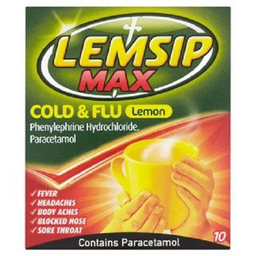 Lemsip Max Cold&Flu Hot drink lemon 10 sachets - DominionRoadPharmacy