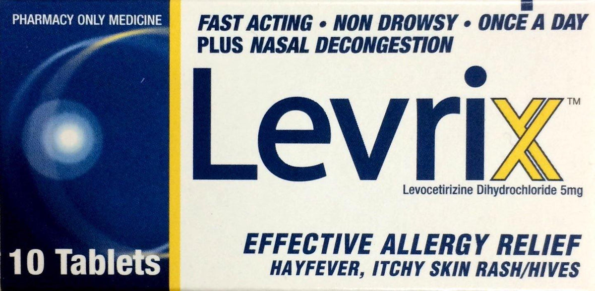 Levrix For Allergy, Hayfever, Itchy Skin Rash/Hives 5mg - 10 Tablets