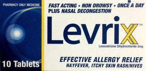 Levrix For Allergy, Hayfever, Itchy Skin Rash/Hives 5mg - 10 Tablets - DominionRoadPharmacy