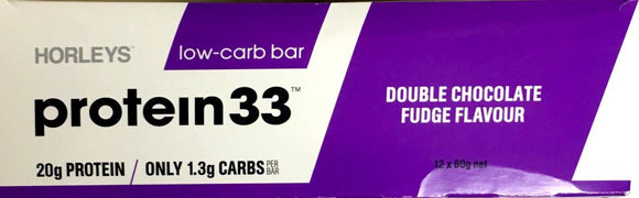Horleys Protein 33 Low Carb Bar Double Chocolate Fudge Flavour 12*60gm - DominionRoadPharmacy