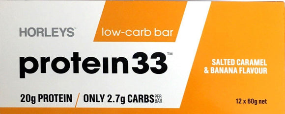 Horleys Protein 33 Low Carb Bar Salted Caramel and Banana 12*60gm - DominionRoadPharmacy