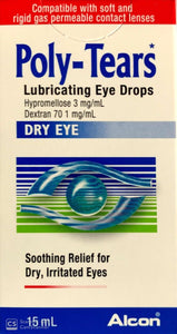 Poly Tears Lubricating Eye Drops For Dry & Irritated Eyes 15ml (3 Pack)_