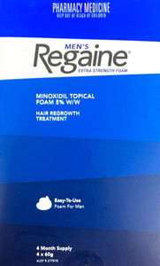 Regaine Men's Extra Strength Foam Minoxidil 5% 4 months Supply 4 * 60 g Pharmacy Medicine