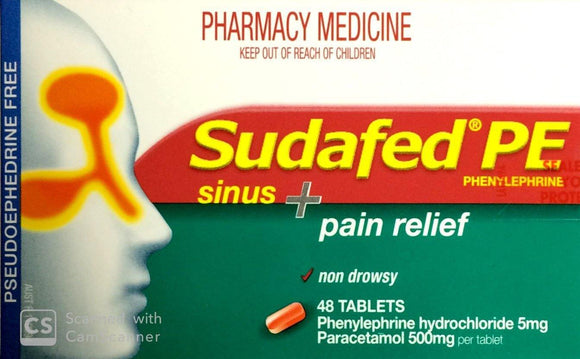 Sudafed PE Sinus Plus Pain Relief 48 Tablets