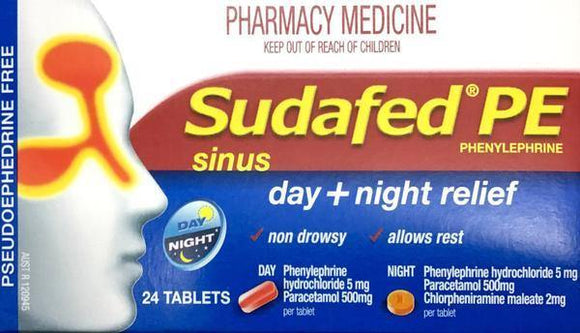 Sudafed PE Sinus Day Plus Night Relief 24 Tablets