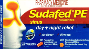 Sudafed PE Sinus Day Plus Night Relief 48 Tablets